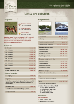 Muflon - Ceník lovu pro roku 2016