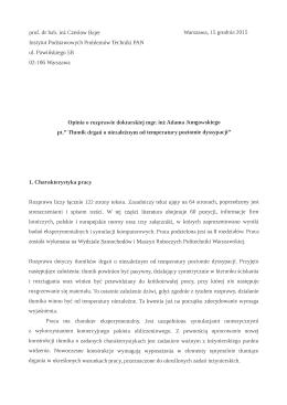 prof. dr hab. in Czeslaw Bajer Warszawa, 15 grucinia 2015 Instytut