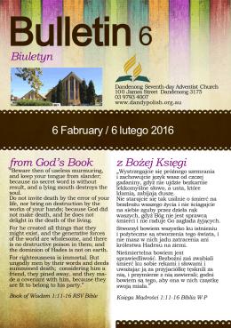 Biuletyn from God`s Book z Bożej Księgi 6 Fabruary