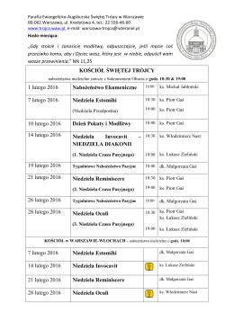 Miesięczny plan nabożeństw i spotkań