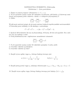 MATEMATYKA DYSKRETNA -Elektronika Kolokwium 1