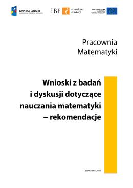 Warszawa 2015 - Raporty i rekomendacje IBE powstałe w ramach