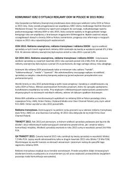 komunikat igrz o sytuacji reklamy ooh w polsce w 2015 roku