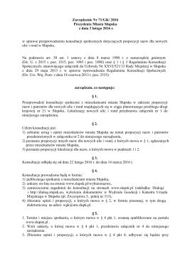 Zarządzenie Nr 71/GK/ 2016 Prezydenta Miasta Słupska z dnia 3