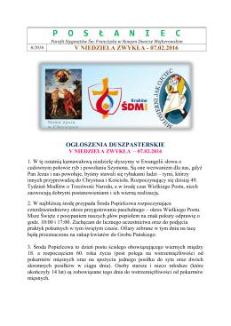 posłaniec - Parafia rzymskokatolicka pw. Stygmatów Św. Franciszka