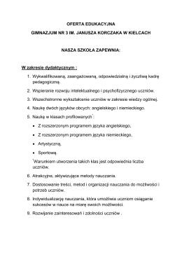 oferta szkoły - Gimnazjum nr 3 im. Janusza Korczaka w Kielcach