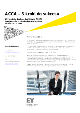 ACCA – 3 kroki do sukcesu - Ernst & Young Academy of Business