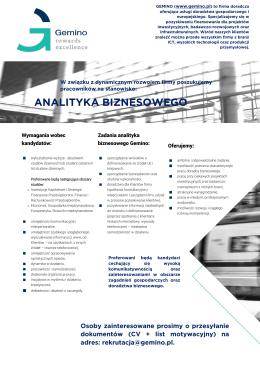 Gemino Sp. z o.o. Analityk biznesowy Oferta ważna do 29.02.2016 r.