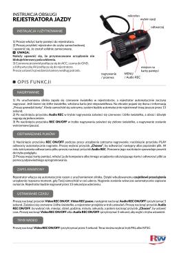 Instrukcja do Rejestratora jazdy kamera 12/24V TIR BUS AUTOK