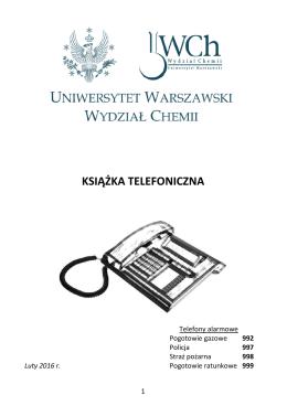 Książka telefoniczna - Wydział Chemii, Uniwersytet Warszawski