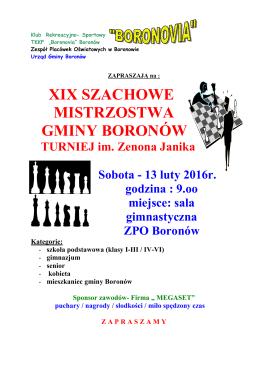 XIX Szachowe Mistrzostwa Gminy Boronów