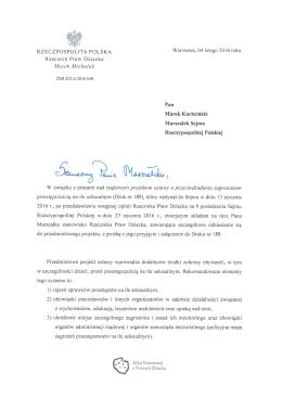 wystąpieniu generalnym do Marszałka Sejmu Rzeczpospolitej