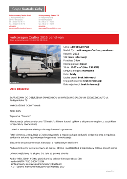 Pojazd Crafter 2015 panel-van