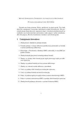 Egzamin - Zakład Logiki Stosowanej