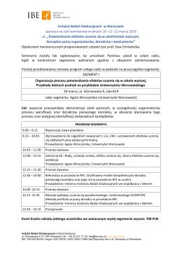 Szczegółowy program seminarium