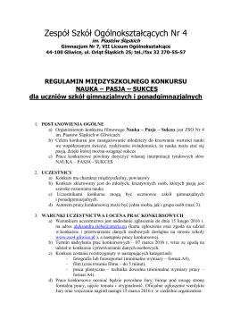 regulamin - Zespół Szkół Ogólnokształcących nr 4 w Gliwicach