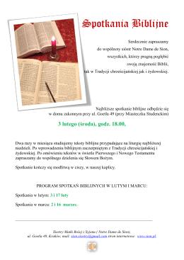 Spotkania Biblijne - Zgromadzenie Sióstr Matki Bożej z Syjonu