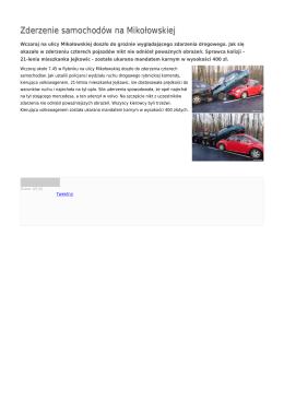 Zderzenie samochodów na Mikołowskiej