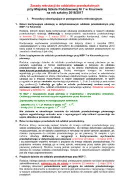 Zasady rekrutacji do oddziałów przedszkolnych przy Miejskiej