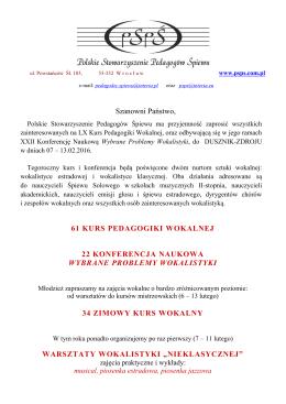 ogłoszeniu. - Polskie Stowarzyszenie Pedagogów Śpiewu