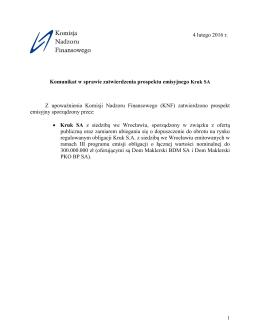 Komunikat w sprawie zatwierdzenia prospektu emisyjnego Kruk SA