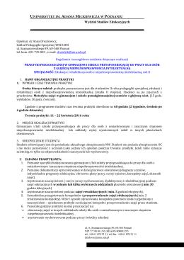 Regulamin praktyki w gimnazjum i w szkole pp II r. II st.