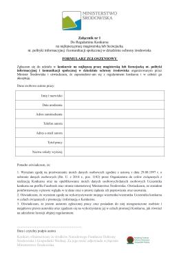 Formularz Zgłoszeniowy (plik pdf, rozmiar 287 kB)