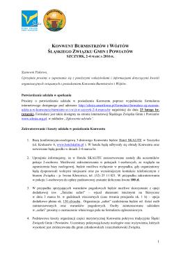 informacje organizacyjne - Śląski Związek Gmin i Powiatów