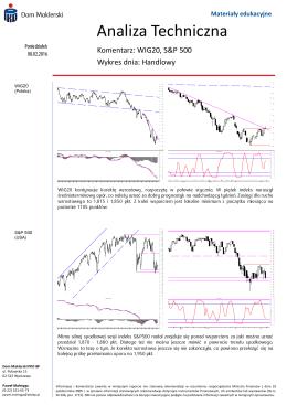 Analiza Techniczna WIG 20, S&P 500. Wykres dnia: Handlowy