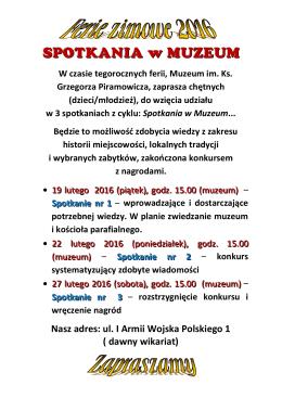 Nasz adres: ul. I Armii Wojska Polskiego 1 ( dawny wikariat)