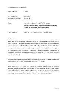 Raport nr 5-2016 - Elektrotim S.A