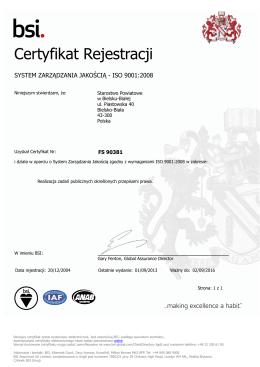 system zarządzania jakością iso 9001:2008