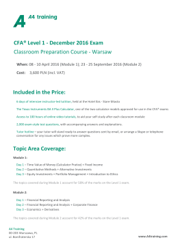 CFA® Level 1 - December 2016 Exam Classroom