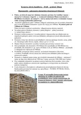 Krajowa oferta handlowa – DĄB – grubość 28mm