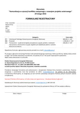 Formularz rejestracyjny PL