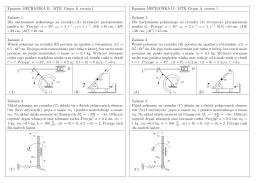 Egzamin MECHANIKA II - MTR. Grupa A, termin 1. Zadanie 1. Dla