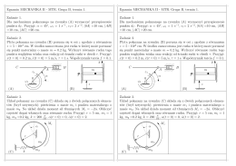 Egzamin MECHANIKA II - MTR. Grupa B, termin 1. Zadanie 1. Dla
