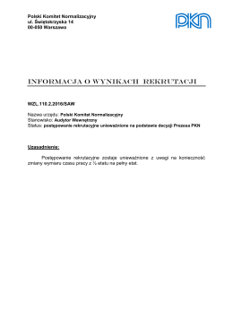 Informacja o wynikach naboru w Polskim Komitecie Normalizacyjnym