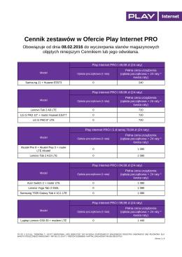 Cennik zestawów w Ofercie Play Internet PRO