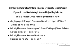 Komunikat dla studentów III roku wydziału lekarskiego Egzamin z
