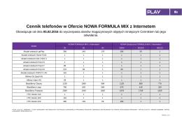 Cennik telefonów w Ofercie NOWA FORMUŁA MIX z Internetem