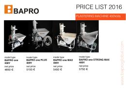 bapro price list