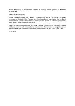 Temat: Informacja o zwiększeniu udziału w ogólnej