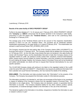 Results of the sales facility of ORCO PROPERTY GROUP