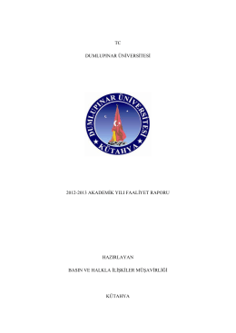 tc dumlupınar üniversitesi 2012-2013 akademik yılı faaliyet raporu