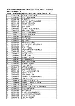 2014-2015 eğitim yılı yıllık dersler vize sınav listeleri miras hukuku