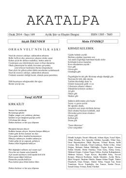 Ocak 2014 - Sayı 169 Aylık Şiir ve Eleştiri Dergisi ISSN