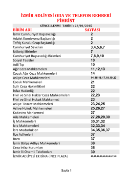 FİHRİST - İzmir Adliyesi
