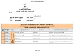 Savcılık ve Ceza Mahkemeleri Bilirkişi Listelesi