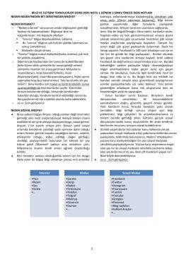 bilgi ve iletişim teknolojileri dersi ders notu 1.dönem 2.sınav öncesi